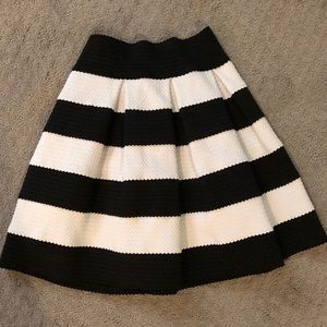 Black and White Thick Striped Party Skirt